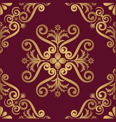 ornamental pattern design in golden color vector image