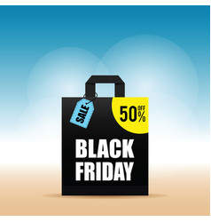 Paper bag with black friday and tag on it vector