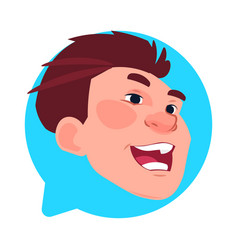 profile icon male head in chat bubble isolated vector image