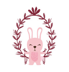 Rabbit with leaves vector