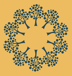 Radial blue tree pattern on a yellow background vector