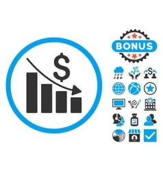 Recession Chart Flat Icon with Bonus vector image
