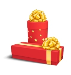 Red Celebration Gift Box with Yellow Gold Bow vector