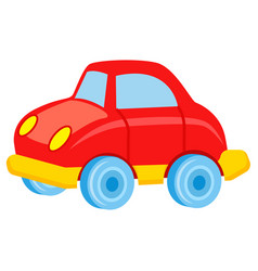 Red toy car with blue wheels vector