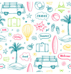 seamless pattern of hand drawn travel doodle vector image