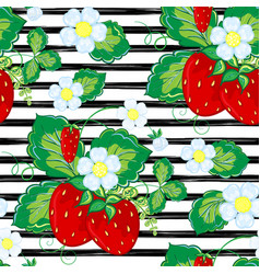 seamless pattern with strawberry on strips summer vector image