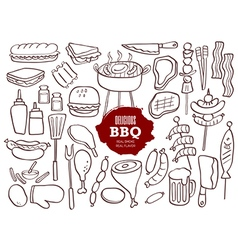 set hand drawn bbq doodles vector image