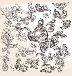 set of floral elements for calligraphic design vector image