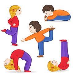 Set of isolated children doing exercises yoga vector