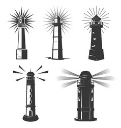 set of lighthouses icons vector image