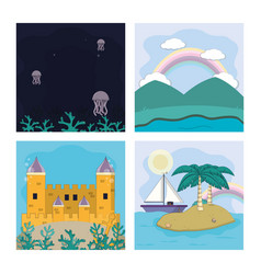 set of magic scenery vector image