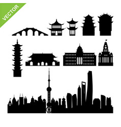 Shanghai landmark and skyline silhouettes vector