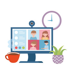 Stay at home meeting online computer people vector