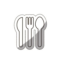 Sticker medium shade of cutlery icon flat vector