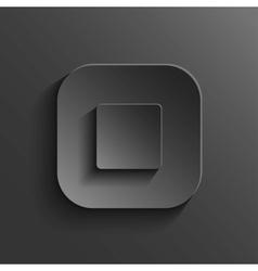 Stop - media player icon - black app button vector image