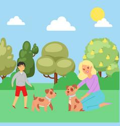 summer park boy playing with puppy joyful man vector image