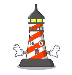 Surprised lighthouse on the beach mascot vector