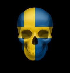 Swedish flag skull vector
