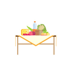 Tasty food and bottle of drink on table isolated vector