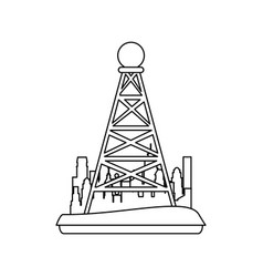 telecommunications antenna symbol in the city vector image