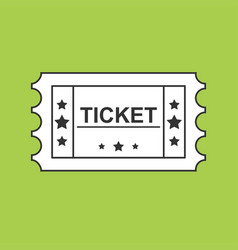 ticket black line icon on green background vector image