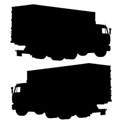 Truck with a container Silhouette vector image