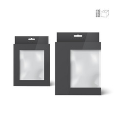 Two black product package boxes with window vector