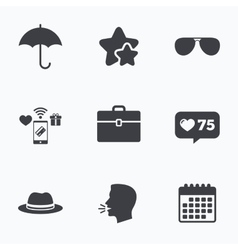 Umbrella sunglasses and hat with case vector image
