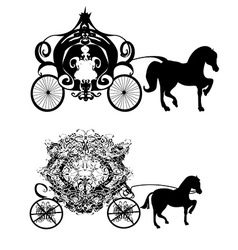 Vintage carriage - two icons vector
