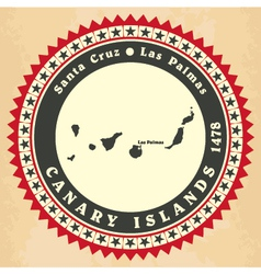 Vintage label-sticker cards of Canary Islands vector