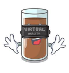 Virtual reality fresh chocolate splash on pouring vector