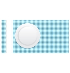 White plate on blue tablecloth vector