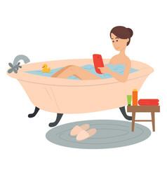 woman lying in bathtub using smartphone social vector image