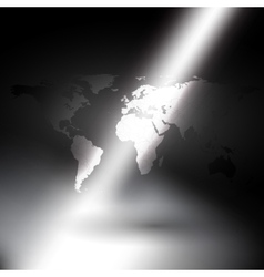 world map in rays of light background vector image