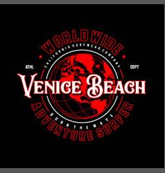 Worldwide venice becah adventure surfer vintage vector