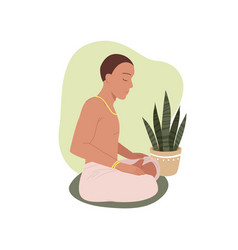 yoga people young man meditating in lotus vector image