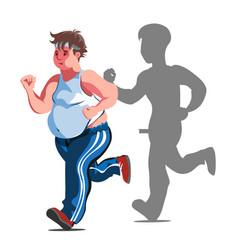a fat cartoon man jogging vector image