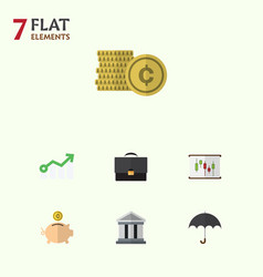 Flat icon finance set of bank money box vector