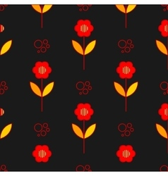 Poppy flowers seamless pattern over grey vector image vector image