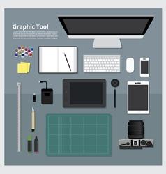 Flat design Graphic Designer Workplace concept vector image