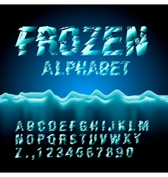 Ice font collection vector