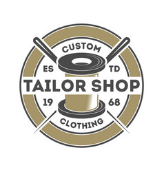 tailor shop vintage isolated logo vector image