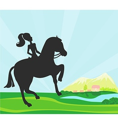 girl jumping with horse vector image