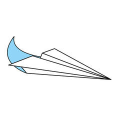 Sketch color silhouette airplane of paper toy vector