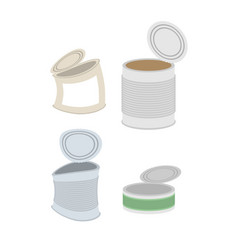 tin crushed garbage set can rubbish on white vector image