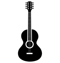 Acoustic guitar icon in black and white colors vector image