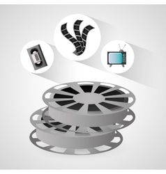 Film reel vhs tv and movie design vector