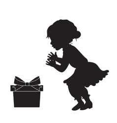 Girl in vinrage dress and the gift box silhouette vector image vector image