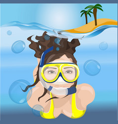 Girl swims in a mask in blue water vector