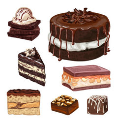 Hand drawn cakes vector image vector image
